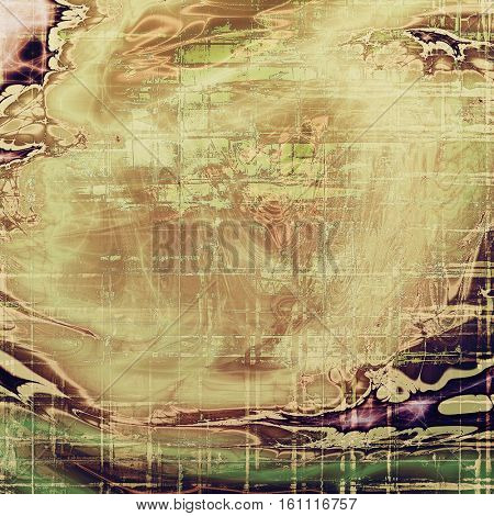 Vintage frame, grunge background with old style decor elements and different color patterns: yellow (beige); brown; gray; green; purple (violet)