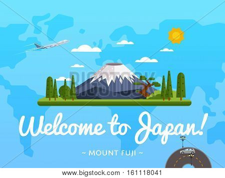 Welcome to Japan poster with famous attraction vector illustration. Travel design with Fujiyama mountain on background world map. Worldwide air traveling, time to travel, discover new places