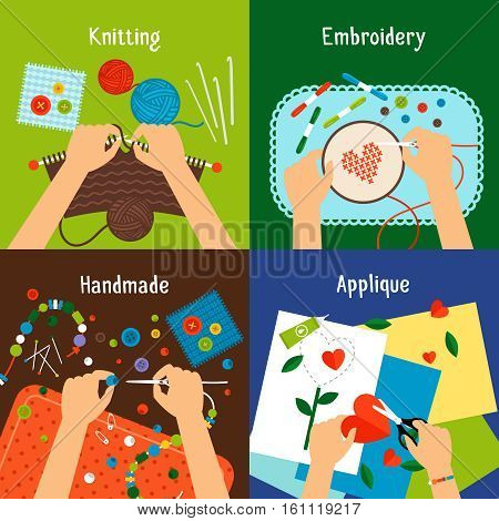 Handmade vector illustration set. Human hands knitting, cross stiching, cutting and working with beads