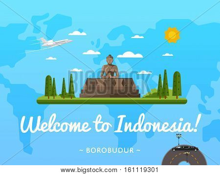 Welcome to Indonesia poster with famous attraction vector illustration. Travel design with Borobudur ancient temple. Worldwide air traveling, famous world building, discover new historical places