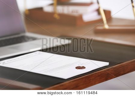 Notary workplace with laptop, closeup