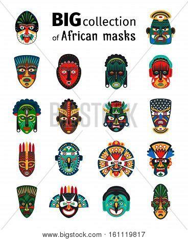 Tribal ethnic african mask big set on white background. Vector illustration