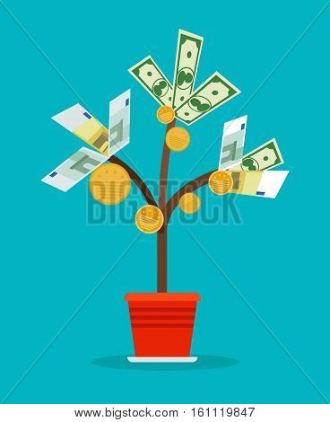 Money tree with cash banknotes and coins on blue background. Vector illustration