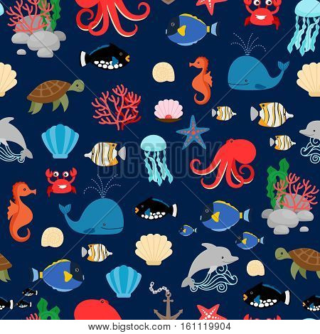 Sea pattern with fishes octopus whales and crabs on dark blue background. Vector illustration