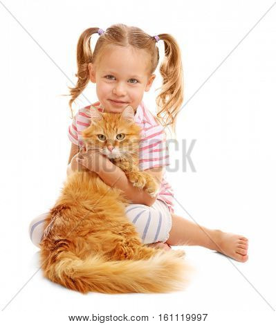 Cute little girl with red cat on white background