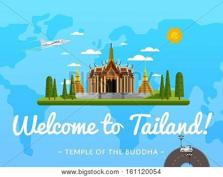Welcome to Thailand poster with famous attraction vector illustration. Travel design with Temple of Emerald Buddha in Bangkok. Time to travel, discover new places, tour guide for traveling agency