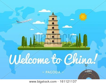 Welcome to China poster with famous attraction vector illustration. Travel design with ancient pagoda on background world map. Worldwide air traveling, discover new historical places concept