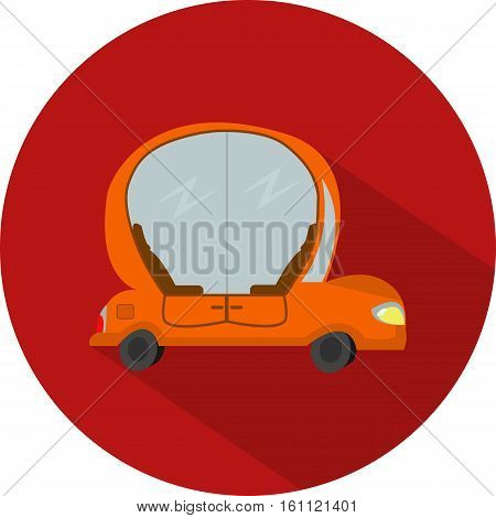 Vector flat design icon of car autopilot in red colour