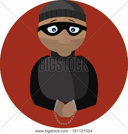Sad criminal in handcuffs.Vector flat illustration icon.