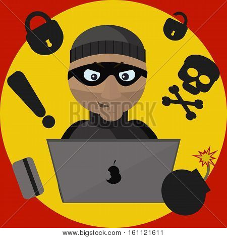 Surveillance camera recorded the penetration of criminal into the room. Thief steals information from a laptop. Vector illustration.