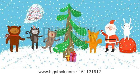 Santa Claus with little animals. Cartoon Santa Claus for Your Christmas and New Year greeting Design.