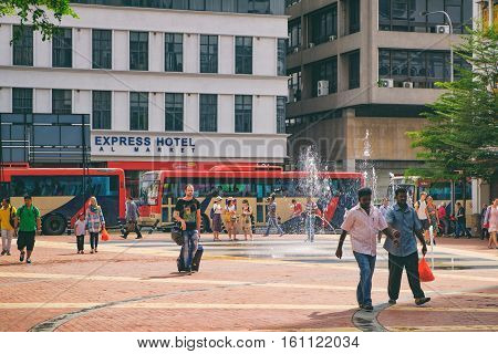 Kuala Lumpur, Malaysia - February 7, 2016: The area in front of the Pacific Express Hotel Central Market in Chinatown, Kuala Lumpur, Malaysia. It is a tourist center with hotels shops restaurants