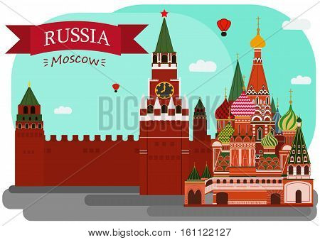 Vector illustration of Sain Basil's Cathedral and Kremlin. With simple text Russia.Moscow .Flat Design.