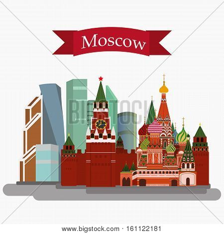 Vector illustration of Sain Basil's Cathedral, Kremlin and Moscow-City isolated. With simple text Moscow .Flat Design.