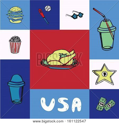 Checkered concept in american national colors with country related symbols and text. Turkey, hamburger, popcorn, soda, baseball, sunglasses, dollar bills, hollywood cinema star hand drawn vector icons