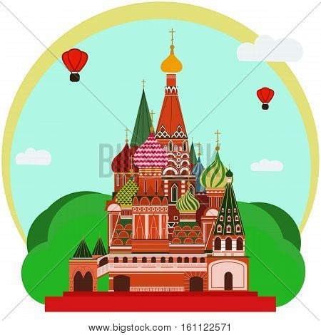 Vector illustration of Sain Basil's Cathedral . Flat Design.