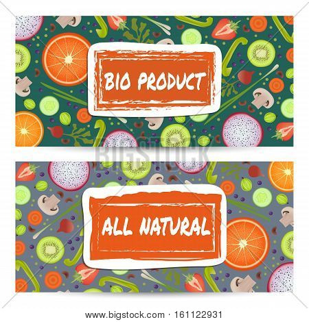 Natural food horizontal flyers vector illustration. Vegetarian, gmo free, fresh and natural, best quality, healthy lifestyle, bio and eco nutrition concept. Fruits and vegetables colorful background.
