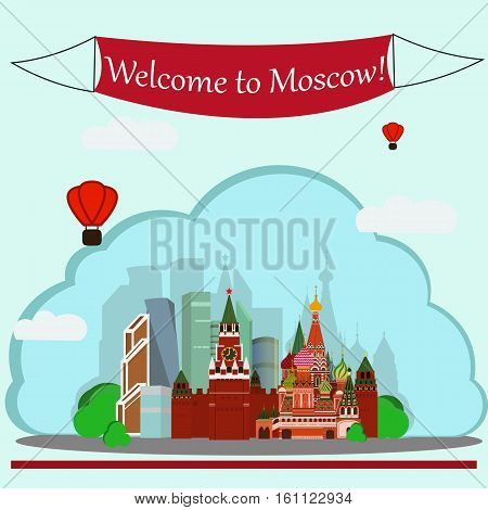 Vector illustration of Sain Basil's Cathedral, Kremlin and Moscow-City. With simple text Welcome to Moscow .Flat Design.