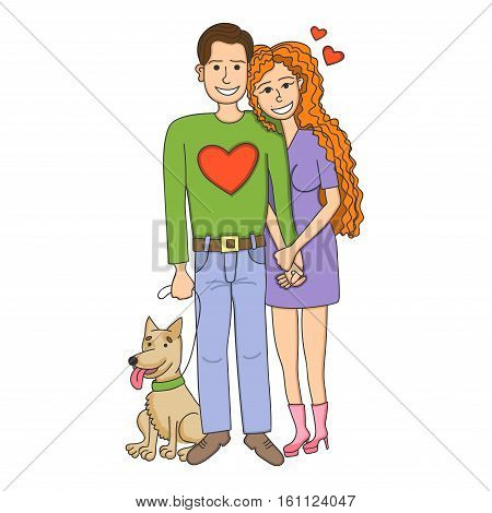A couple of people in love with a cute dog. A man and a woman love each other. Happy Valentine's Day illustration.