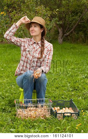 Harvesting Dry Onion. Active Beautiful Young Russian Girl With Braid In Wicker Hat Plaid Shirt And Jeans Sitting Holding In Her Hand Young Dry Onions Beside On Grass Boxes With Onions Outdoors.