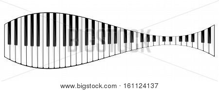 Vector illustration. Musical flat background. Piano key, keyboard. Melody. Instrument.