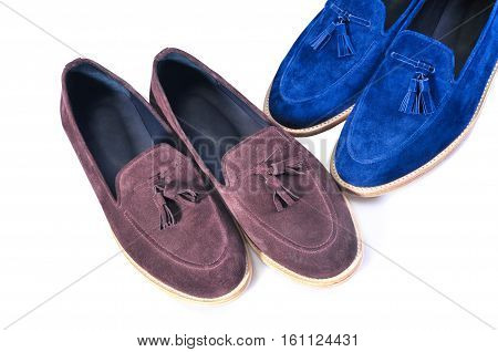 Men's leather loafers isolated on white background. stylish blue and beige two pairs shoes isolated on white background. Handmade Shoes