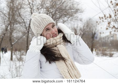 The Girl In A Winter White Down-padded Coat