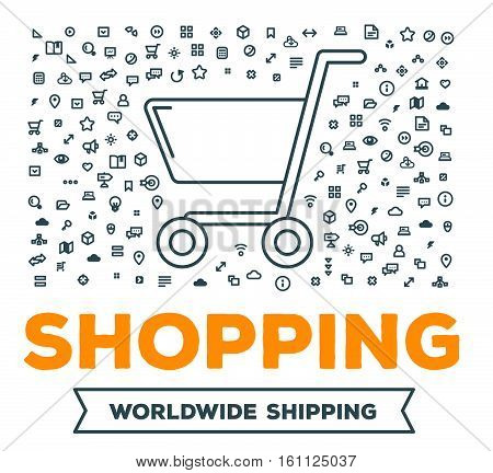 Vector Creative Illustration Of Big Shopping Trolley With Set Of Line Icons And Word Typography On W