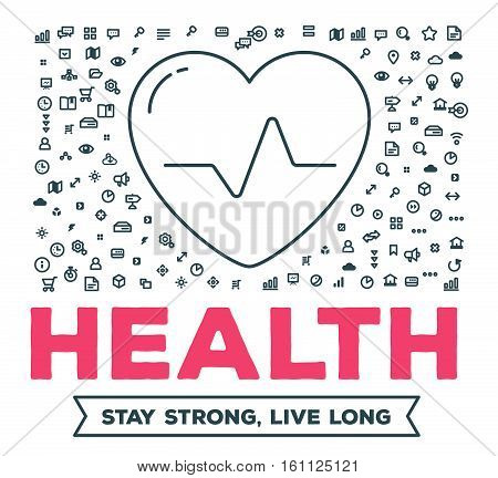 Vector creative illustration of big heart with set of line icons and word typography on white background. Healthy lifestyle concept. Thin line art style design for healthy heart