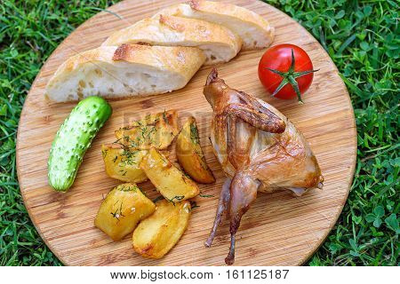 Delicious fried quail with fresh juicy vegetables on the wooden round board on green grass. Prepared tomato, cucumber, partridge, quail, slice of breads and potatos. Roasted Partridge, quail grilling on sunny day. Top view. Culinary concept with delicious