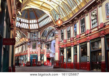 London, UK - March 19, 2011:  Leadenhall Market in Gracechurch Street which has a covered roof and sells mainly food products is a popular visitors attraction in the city centre
