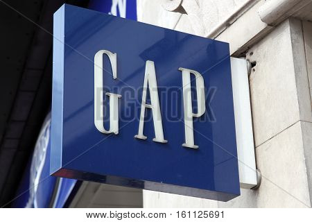 London, UK, April 2, 2011 : Gap logo advertising sign outside one of its clothing stores in Oxford Street