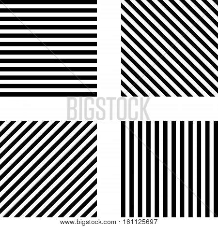 Striped square pattern  horizontal stripes, vertical stripes, diagonal stripes in the square, vector template set