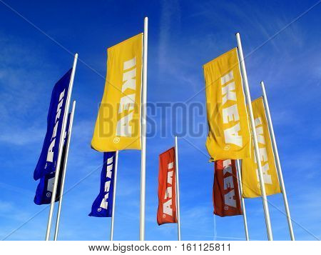 London, UK - April 6, 2011:  Ikea advertising flags outside its retail supermarket stores in Brent Park Wembley