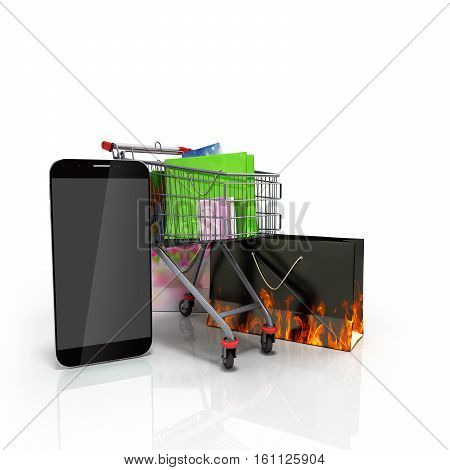 Packets Next To The Phone On Glass Flor 3D Illustration