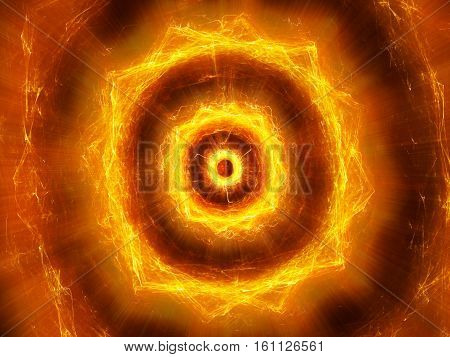 Fiery glowing pulsing electromagnetic explosion in space computer generated abstract background 3D rendering