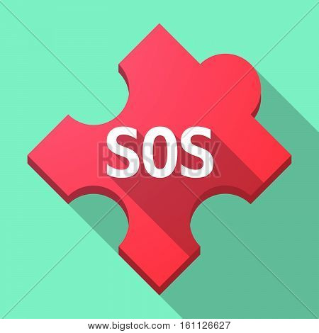 Long Shadow Puzzle Piece With    The Text Sos