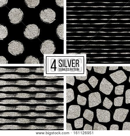 Set of silver glitter seamless pattern of stripes, polka dots, mosaic spots, silvern seamless background of lines, circle, point stroke, hand drawn vector pattern for textile, wallpaper, web, wrapping