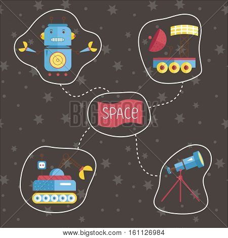 Space icons in cartoon style. Robot with claws, telescope on stand, exploration rovers, vectors set isolated on starry grey background. Fantastic astronomic concept for childrens book illustrating