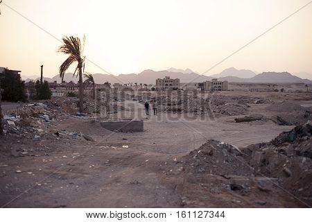 Ruins construction, crisis Sharm el sheikh Egypt