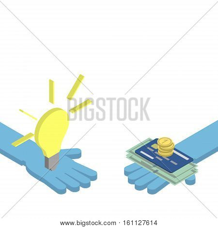 The concept of mutually beneficial exchange. Hand gives an idea of ​​the hand gives money. Vector isometric