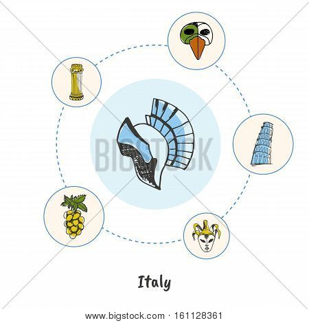 Attractive Italy. Gladiator helmet colored doodle surrounded Pisa tower, carnival mask, antique column, grapes hand drawn vector icons. Italian cultural, culinary, historical symbols. Travel in Europe
