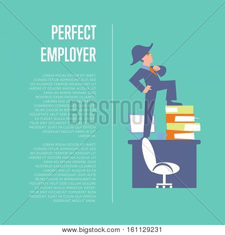 Big boss in business suit and napoleon hat standing on office table. Perfect employer banner, isolated vector illustration on blue background. Office life. Business people design with space for text
