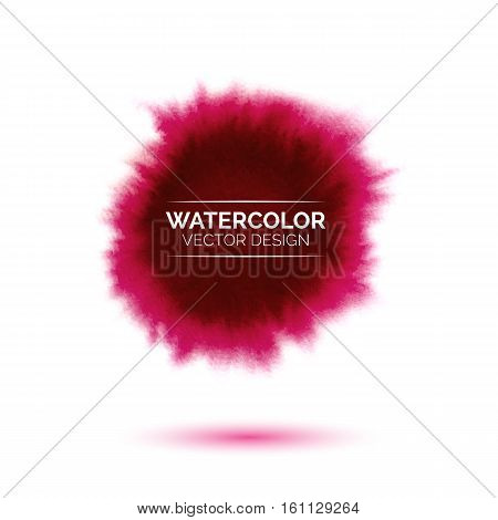 Abstract watercolor red spot, hand painted watercolour pink stain, bright vector splash, watercolor background for design