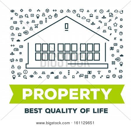 Vector creative illustration of big house with set of line icons and word typography on white background. Real property concept. Thin line art style design for real estate agency