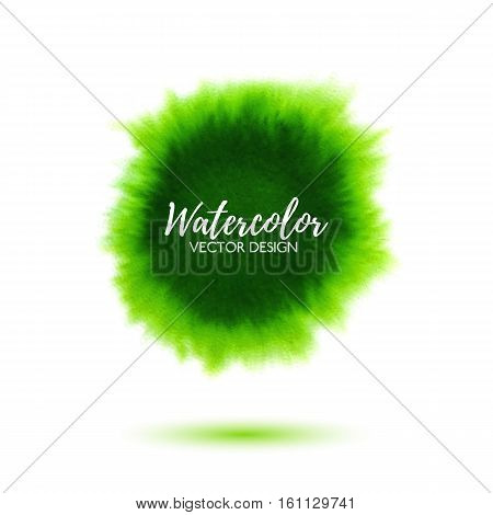 Abstract green watercolor background, hand drawn virid watercolour stain, bright vector splash for design poster