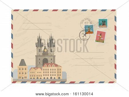 Church of Our Lady before Tyn, Prague. Postal envelope with famous architectural composition, postage stamps and postmarks vector illustration. Postal services. Envelope delivery
