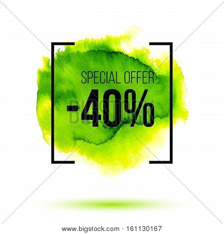 Abstract green watercolor splash with discount 40 percent off sale, special offer sale on virid watercolour stain, hand painted bright vector spot, watercolor background for design poster