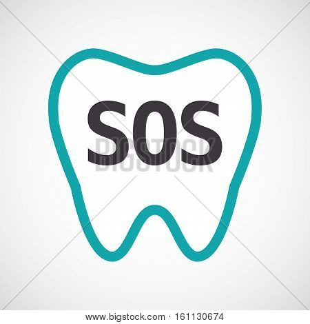 Isolated Tooth With    The Text Sos