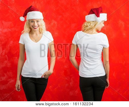 Woman in Santa hat wearing white V-neck T-shirt